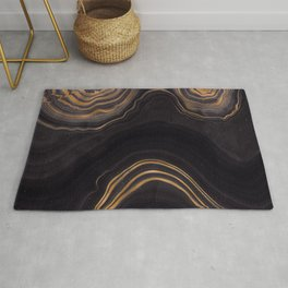 Dark Night Marble With Gold Glitter Waves Rug