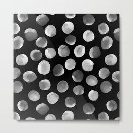 White Watercolor Dots Metal Print