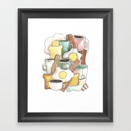 spring breakfast bread egg bacon coffee etc Framed Art Print