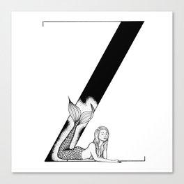 Mermaid Alphabet Series - Z Canvas Print