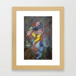 Fisherman Monkey Framed Art Print