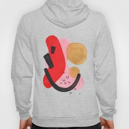 Colorful Minimalist Mid Century Modern Shapes Pink Red Yellow Abstract Bubbles Hoody