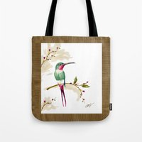 hummingbird Tote Bags featuring hummingbird by Ariadne