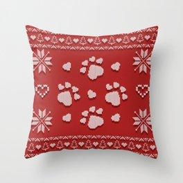 Dog Paws Christmas - Sweater Weather Isle Throw Pillow