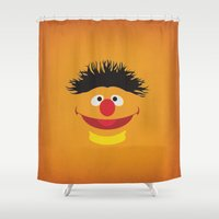 sesame street Shower Curtains featuring Sesame Street Vintage Nursery Art Ernie Retro Style Minimalist Poster Print by The Retro Inc