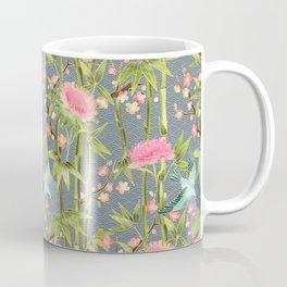 Bamboo, Birds and Blossom - grey Coffee Mug