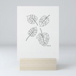 Monstera - Lines Mini Art Print
