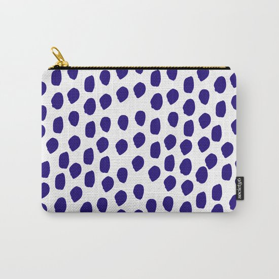 Indigo abstract brushstrokes minimal modern white and blue painterly painting boho chic dorm decor Carry-All Pouch