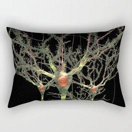Neurons Green Brain Cells with Glowing Nerve Impulses Rectangular Pillow