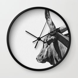Cow Photography | Ankole-Watusi | Cattle | Bull |Steer Wall Clock