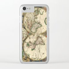 Old map of world hemispheres (enhanced) Clear iPhone Case