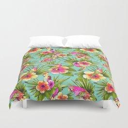 Tropical flowers with parrots Duvet Cover