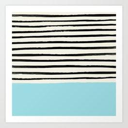 Sky Blue x Stripes Art Print