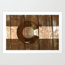 Rustic brown wooden Colorado flag Art Print