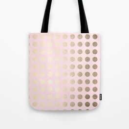 Simply Polka Dots White Gold Sands on Flamingo Pink Tote Bag