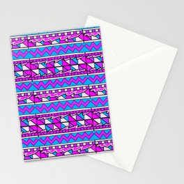Latin American Pattern Pink Purple Blue. Funky Art. Colourful Pattern Stationery Cards