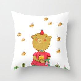 Honey Bear, Busy Bees Throw Pillow