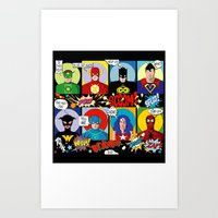 superheroes Art Prints featuring Superheroes by Chicca Besso