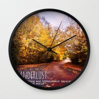 wanderlust Wall Clocks featuring wanderlust by Sylvia Cook Photography