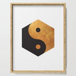 Yin Yang Geometrical Zen Meditation Yoga Gold Black Balance Minimalist   Serving Tray