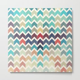 Watercolor Chevron Pattern Metal Print
