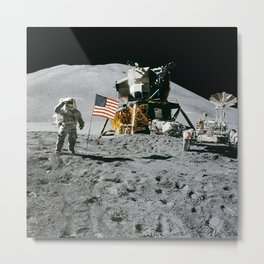 Man on the Moon with American Flag Metal Print