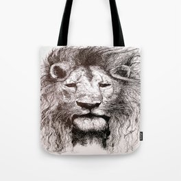Lion Drawing Illustration Ink Black and White Tote Bag
