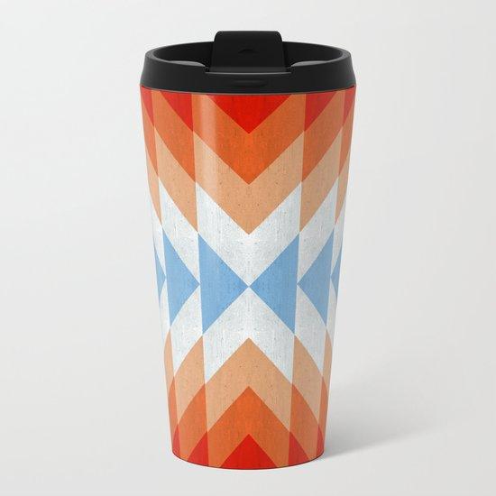 Minimalist orange and red Metal Travel Mug