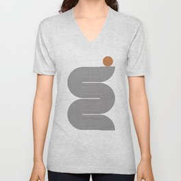 Abstraction_SUN_BLACK_LINE_POP_ART_Minimalism_0688AD Unisex V-Neck