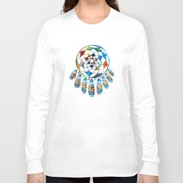 Native American Colorful Dream Catcher by Sharon Cummings Long Sleeve T-shirt