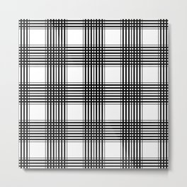 Black & White Plaid Metal Print