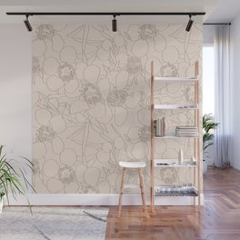 Australian Waxflower Line Floral in Natural Wall Mural