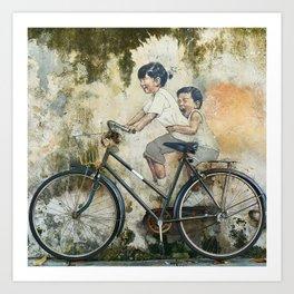 Children Ride Bicycle Graffiti Art Print