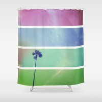 palm tree Shower Curtains featuring Palm Tree by Whitney Retter