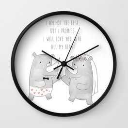 Rhino Happy Wedding - I am not the best but I promise I will love you with all my heart - Happy Vale Wall Clock
