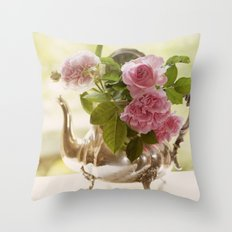 Pink English Roses in a silver Pot- Vintage Rose Stilllife Photography Throw Pillow