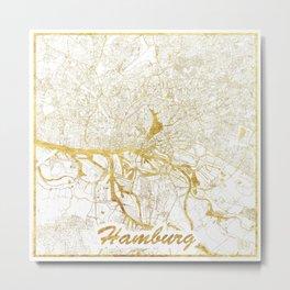 Hamburg Map Gold Metal Print