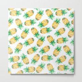 Tropical sunshine yellow green watercolor pineapple Metal Print