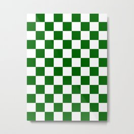 Checkered - White and Dark Green Metal Print