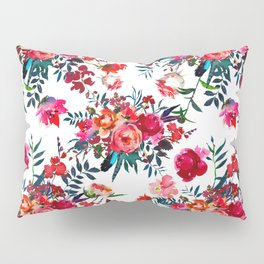 Bohemian pink green hand painted floral feathers pattern Pillow Sham