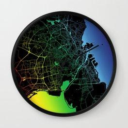 Copenhagen, Denmark, City, Map, Rainbow, Map, Art, Print Wall Clock