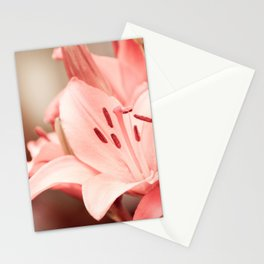 Flowering Lilium plant sepia toned image Stationery Cards