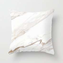 Cream White Marble Throw Pillow