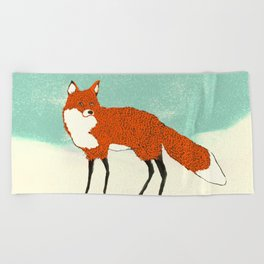 Fox in the snow, Kitsune, Vintage inspired illustration Beach Towel