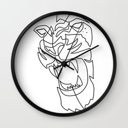 Tiger Drawing in One Line Wall Clock