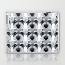 Schnauzer pattern-Grey Dog illustration original painting print Laptop & iPad Skin