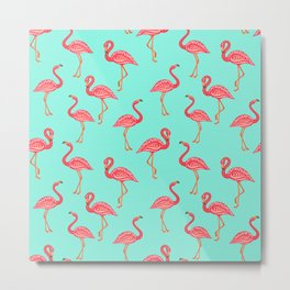 Pink flamingo ornament on a striped turquoise background. Decorative ornament. Metal Print