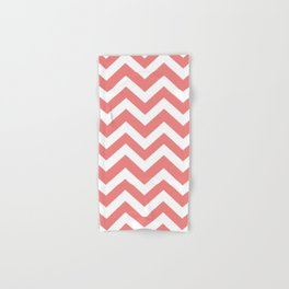 Light coral - pink color -  Zigzag Chevron Pattern Hand & Bath Towel