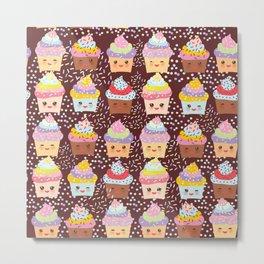 Cupcake Kawaii funny muzzle with pink cheeks and winking eyes Metal Print