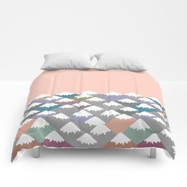 Nature background with Mountain landscape. Gray, pink, blue navy mountain with snow-capped peaks. Comforters